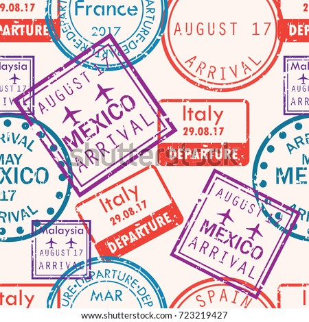 International business travel visa stamps arrivals seamless pattern. vector illustration