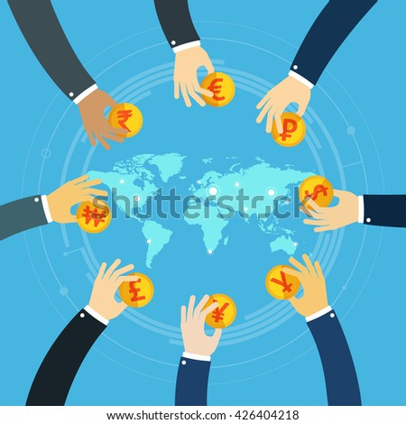 International business visual concept. Investment. Businessman hands holding gold coins. Trader. Gold coins. Foreign currency investment. Foreign currency exchange. Money exchange. World map business. - stock vector