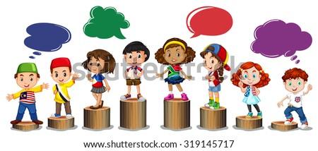 International children standing on log illustration