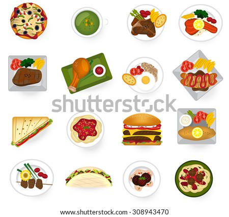 International cuisine food from Asian to American and Europe serve as main dish and fast food in restaurant icon collection set, create by vector  - stock vector