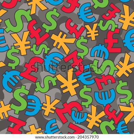 International currencies seamless camo background. EPS8 vector illustration, CMYK global colors.