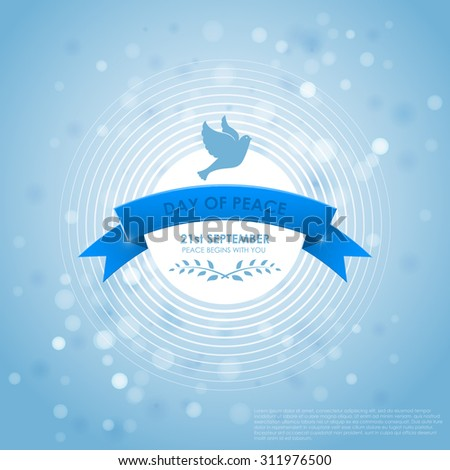 International Day of Peace with pigeons, olive and ribbon Branches. Vector illustration 10eps. - stock vector
