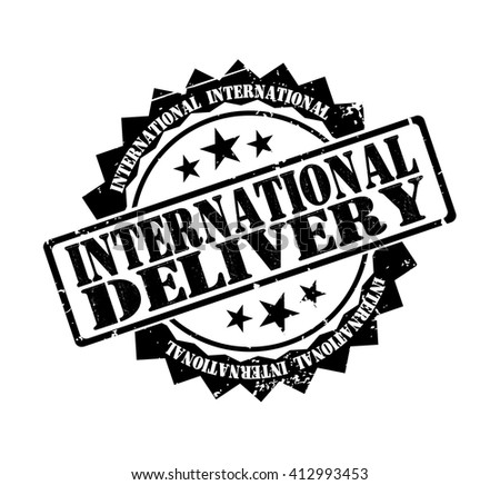 international delivery stamp on a white, vector illustration