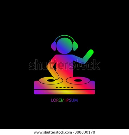 International DJ day. Color silhouette of a DJ wearing headphones and scratching a record on the turntable on the black background. 