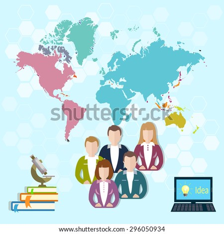 International education online learning pupils students university college world vector illustration