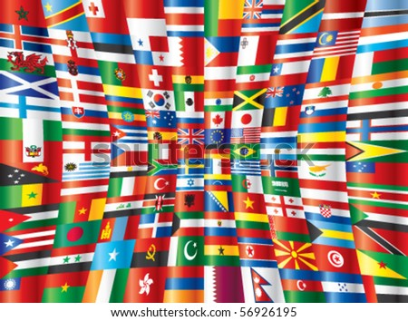 International glossy flags vector. 130 flags.