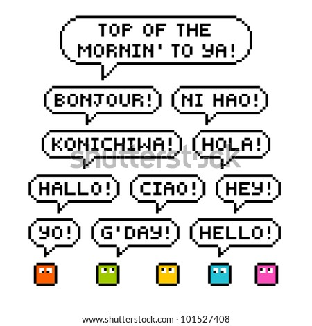 International Greetings in Pixel-Art Form