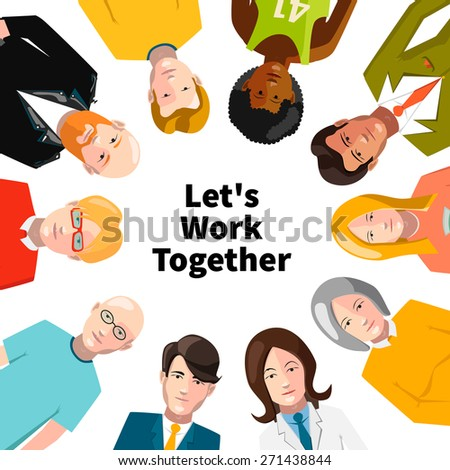 International group of people working in team illustration isolated on white - stock vector