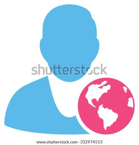 International Manager vector icon. Style is bicolor flat symbol, pink and blue colors, rounded angles, white background.