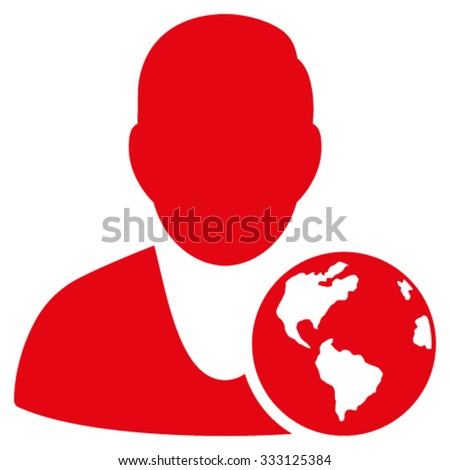 International Manager vector icon. Style is flat symbol, red color, rounded angles, white background.