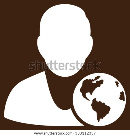 International Manager vector icon. Style is flat symbol, white color, rounded angles, brown background.