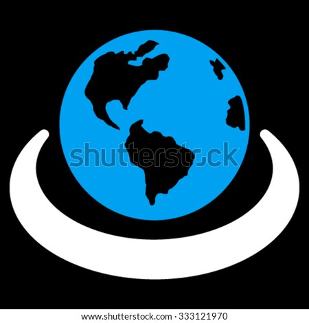 International Network vector icon. Style is bicolor flat symbol, blue and white colors, rounded angles, black background. - stock vector