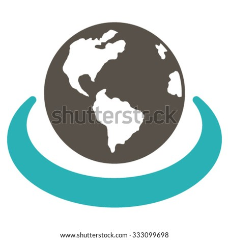 International Network vector icon. Style is bicolor flat symbol, grey and cyan colors, rounded angles, white background. - stock vector