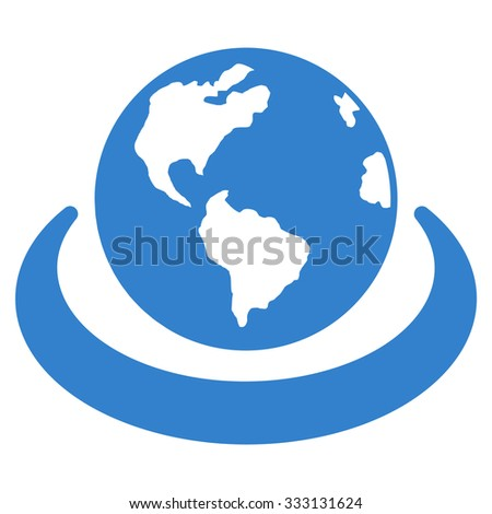 International Network vector icon. Style is flat symbol, cobalt color, rounded angles, white background.