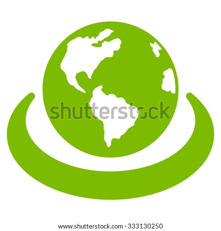 International Network vector icon. Style is flat symbol, eco green color, rounded angles, white background. - stock vector