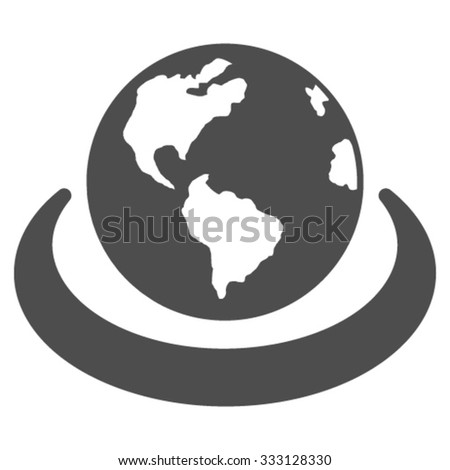 International Network vector icon. Style is flat symbol, gray color, rounded angles, white background. - stock vector