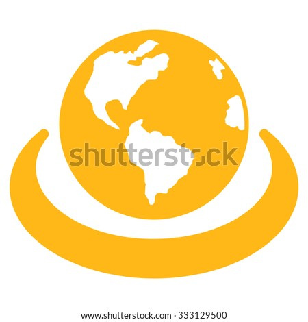 International Network vector icon. Style is flat symbol, yellow color, rounded angles, white background. - stock vector