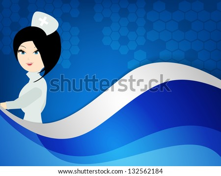 International nurse day concept with illustration of a nurse on wave background. - stock vector