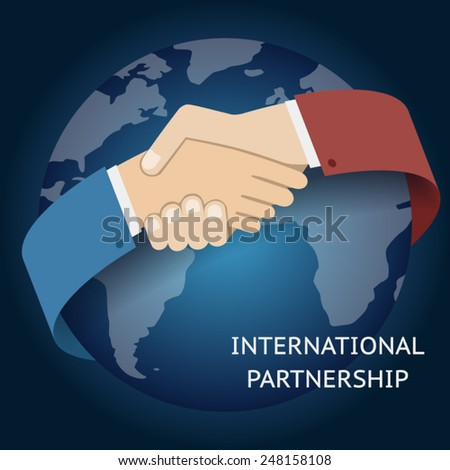 International Partnership Icon Businessman Handshake Symbol on Globe World Map Background Flat Design Vector Illustration - stock vector