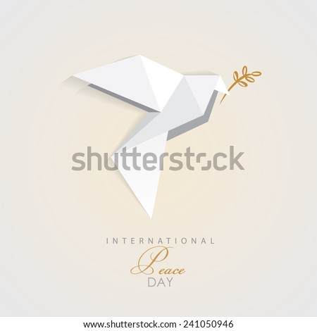 International Peace Day Vector Illustration Of White Origami Dove Bird With Golden Olive Branch