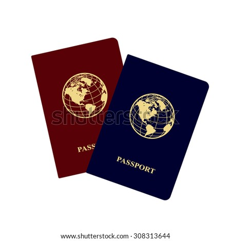 International red and blue passports with icon of globe. Vector illustration.