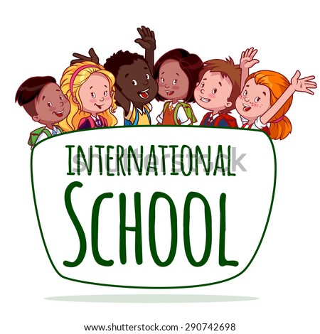 International School. Template logo. Vector Illustration on a White Background.