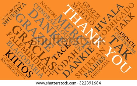 International Thank You Word Cloud On An Orange Background. Each word in this word cloud is another language's version of the word Thank You. - stock vector