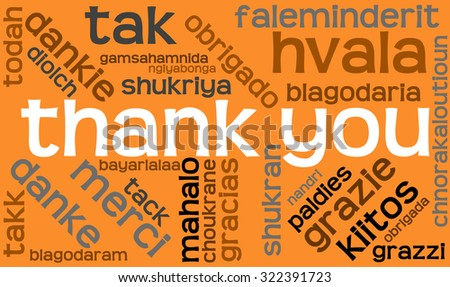 International Thank You Word Cloud On An Orange Background. Each word in this word cloud is another language's version of the word Thank You.