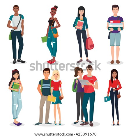 International university or college group of young students characters and couples collection. - stock vector