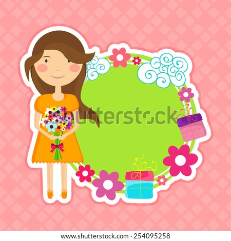 International Women's Day celebration sticky design with space for your text and cute little girl holding a flower bouquet on pink background. - stock vector