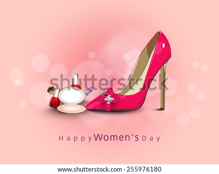 International Women's Day celebration with glossy ladies shoe and cosmetic products on pink background. - stock vector