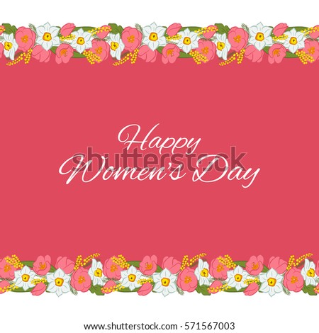 International womens day greeting card mimosa stock vector hd international womens day greeting card mimosa flowers tulip narcissus border sample greeting m4hsunfo Images
