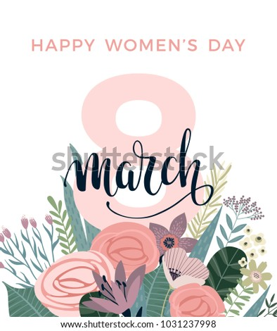 International Women's Day. Vector template for card, poster, flyer and other users