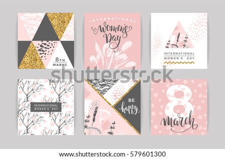 International Women's Day. Vector templates with lettering design and hand draw texture. Design for card, poster, flyer and other users.
