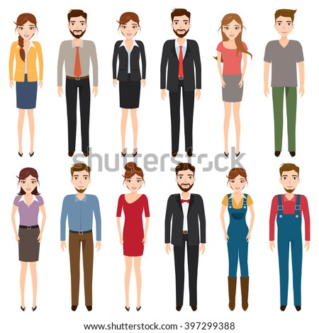 International young people character and couples collection. young people set, young people couples collection, young people fashion, young people clothes, young people students, young people couple. - stock vector