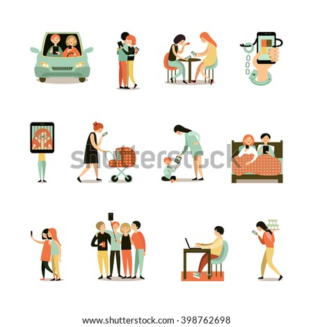 Internet addiction decorative icons set of people with smartphones during meeting driving walking working isolated vector illustration  - stock vector