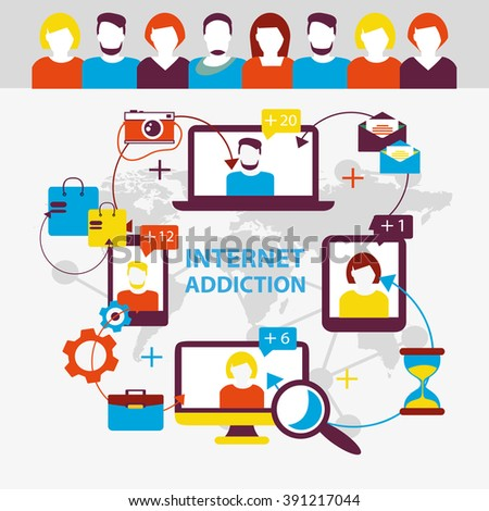 Internet addiction. Group of people use smartphone, notebook and tablet everyday for chatting, purchase and work.  - stock vector