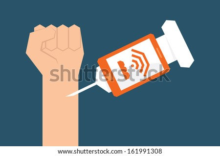 Internet addiction, vector - stock vector