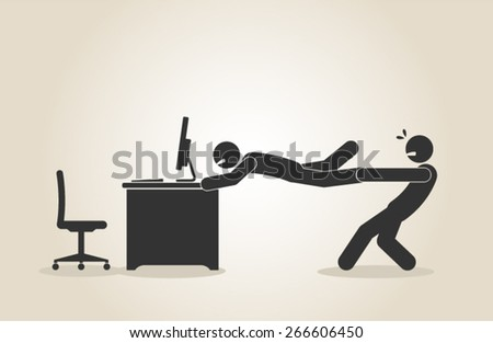 internet addiction workaholic workaholism overburden stressed man vector illustration - stock vector