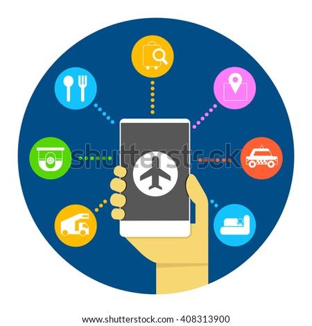 internet airline, booking flight ticket online via internet smart phone infographic - stock vector