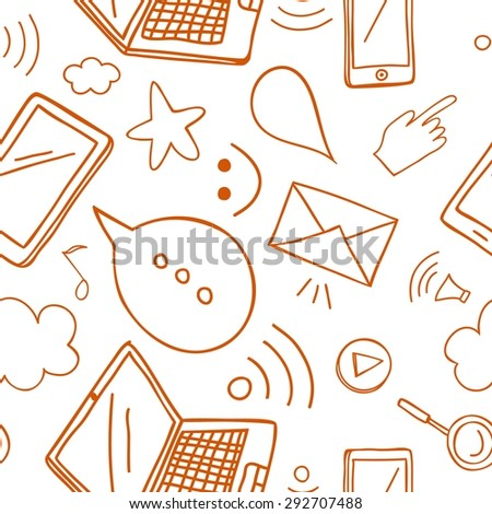 Internet and gadgets vector seamless background. Doodle pattern