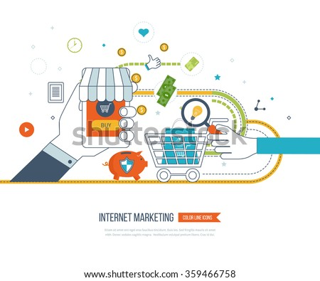 Internet and mobile marketing concept. Social network. Online shopping. Shopping basket. Investment business. Strategy for successful business. Business protection. Mobile banking. Color line icons - stock vector