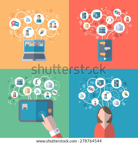 Internet and social networks online communication concept icons set flat isolated vector illustration  - stock vector