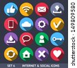 Internet and Social Vector Icons With Long Shadow Set 6 - stock