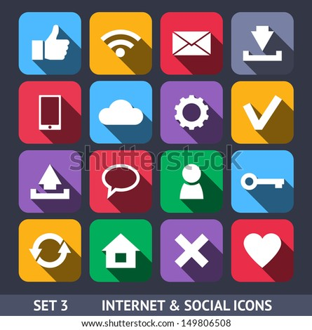 Internet and Social Vector Icons With Long Shadow Set 3 - stock vector
