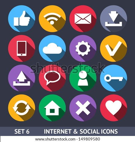 Internet and Social Vector Icons With Long Shadow Set 6 - stock vector