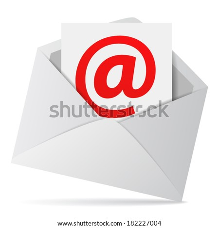 Internet and web business contact us concept with an email envelope and red at symbol on a paper sheet. Vector EPS 10 illustration isolated on white background.