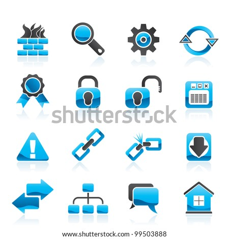 Internet and web site icons - vector icon set - stock vector