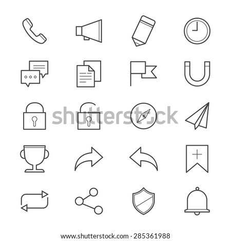 Internet and Website Icons Line - stock vector