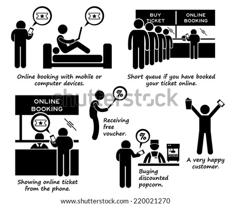 Internet Booking Online Ticket Process Step by Step Stick Figure Pictogram Icons - stock vector